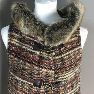 Zara Wool Blend Vest with Fur Hood  Sz Small